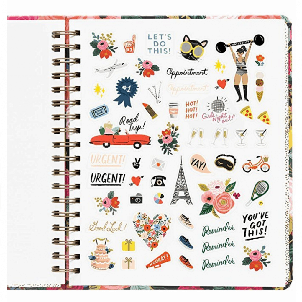 The Rifle Paper Co Planner comes with lots of stickers and so you can make your planner more colorful and fun!