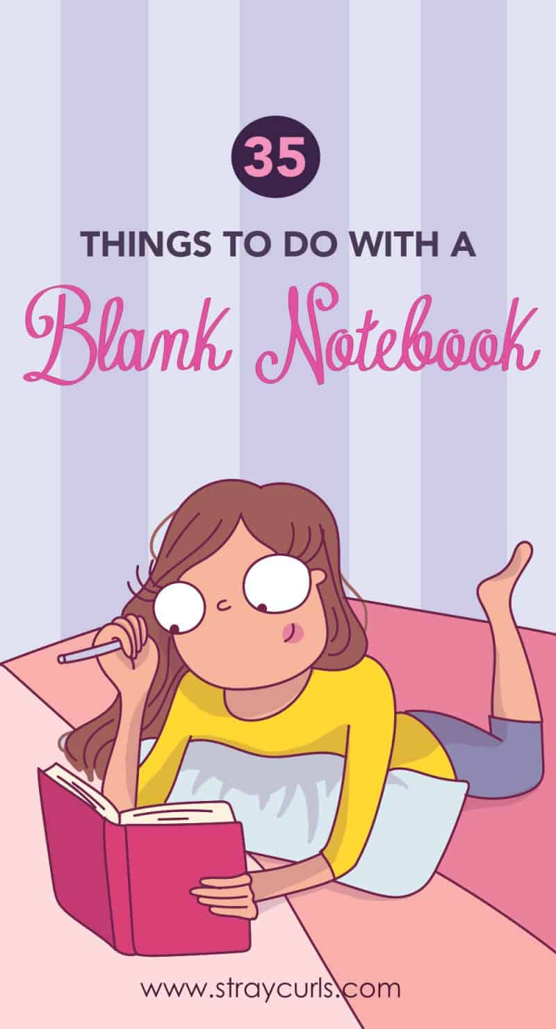 Read to know what to do with a blank notebook. This post has ideas to fill your blank notebook with. You can journal, doddle, make a scrapbook, write down song lyrics, use it as a travel journal and so much more! #notebook #diy #crafts #pages #art #crafts