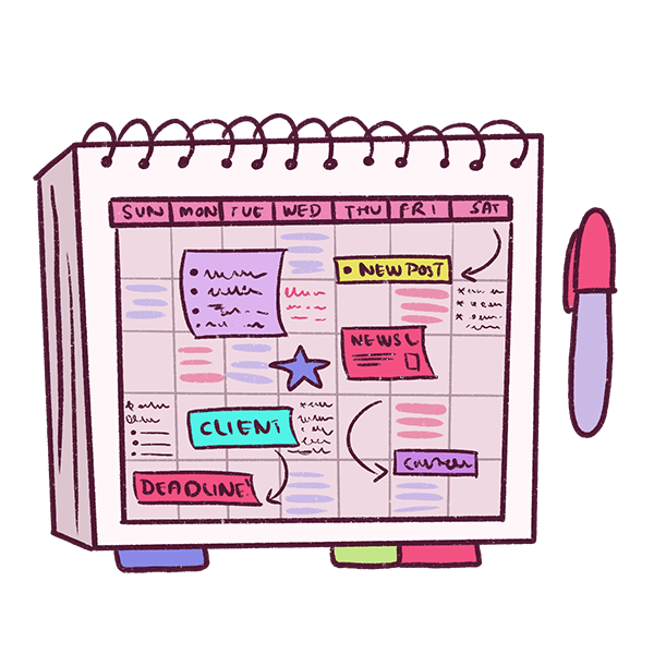 Just draw a monthly template in your notebook and use post-its for the content! This is a fantastic way of using your notebook as an editorial calendar!