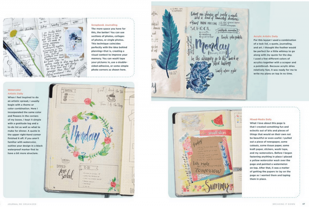 Includes photographs of layouts you could use in your journal.