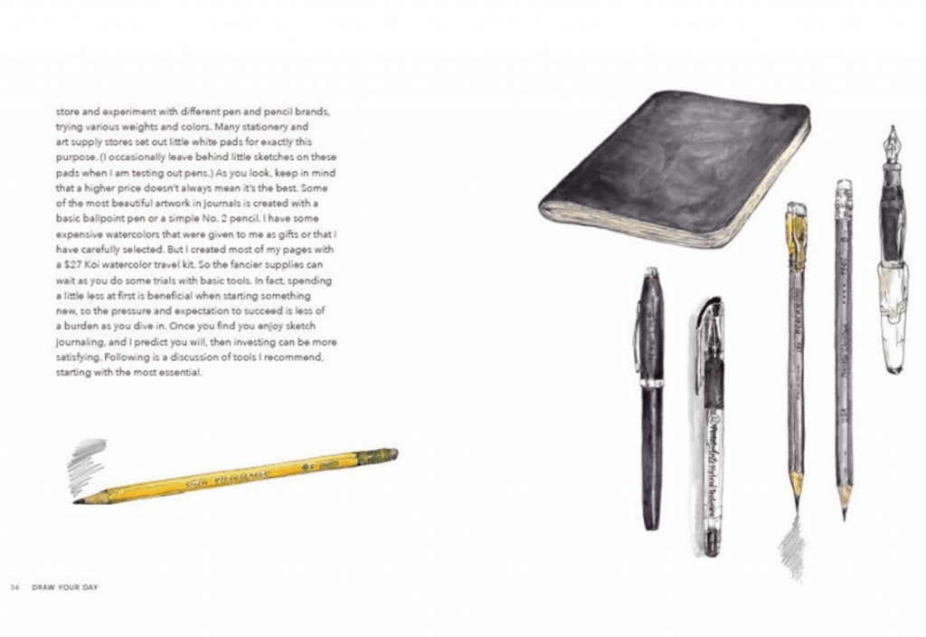 Includes materials you can use to write/draw in your journal.