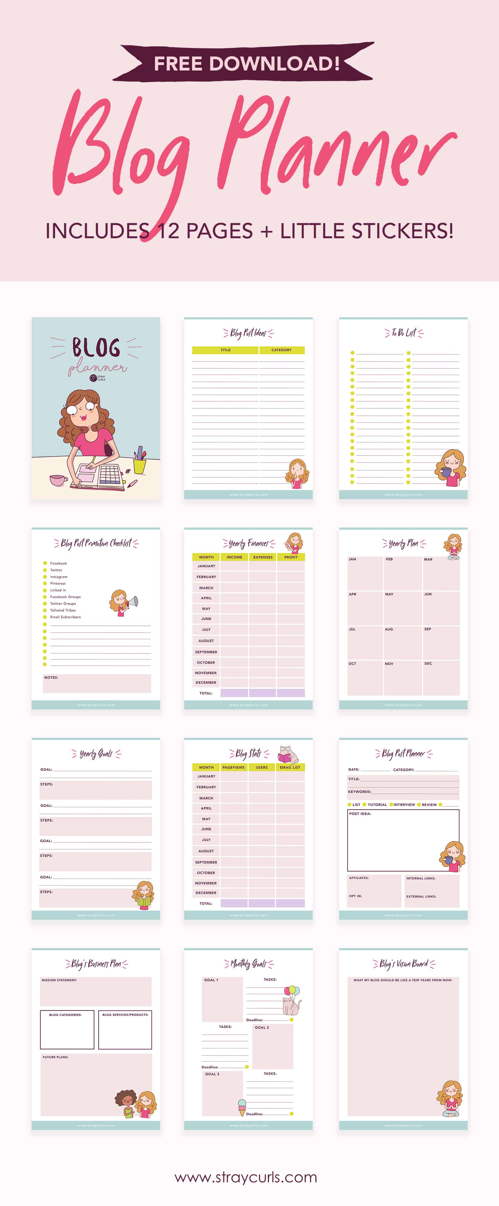 photograph about Blog Planner Printable known as Cost-free Down load: 12 Web page 2019 Web site Planner - Stray Curls