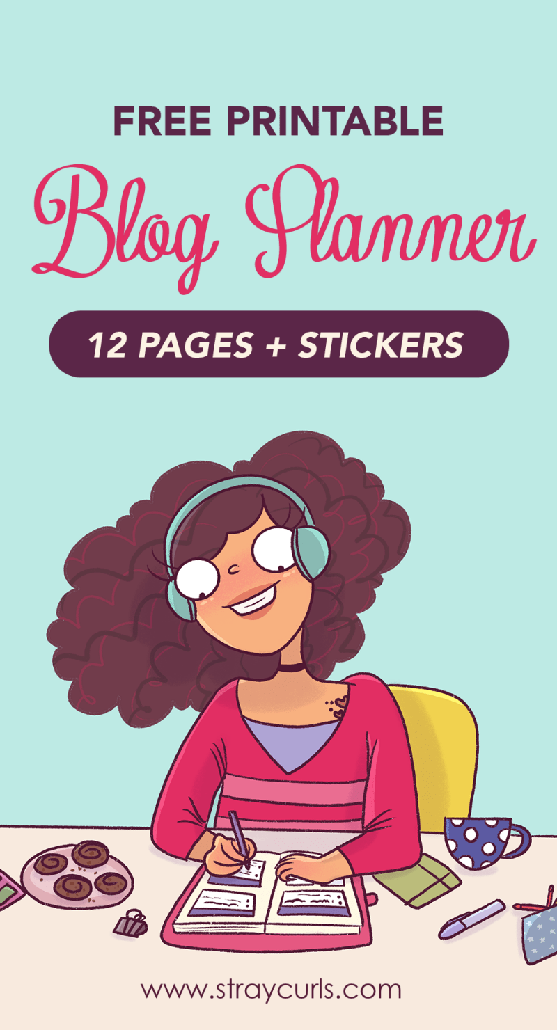 This free printable blog planner is not only super cute with little girl and cat stickers but is also super functional! Stay super organised and keep track of all your blogging goals by downloading this 12 page blog planner! #blogplanner #plannerlife #planner #girlboss #free #freeprintable #blogging