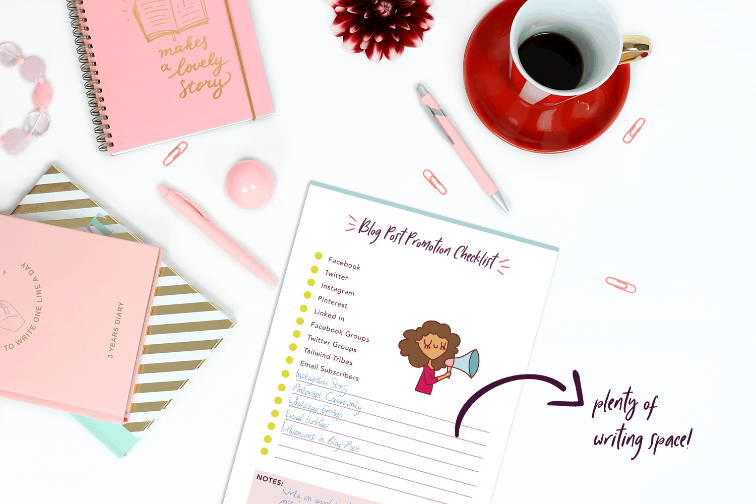 This blog planner is super cute and has tons of space to write everything you want to in order to grow your blog.