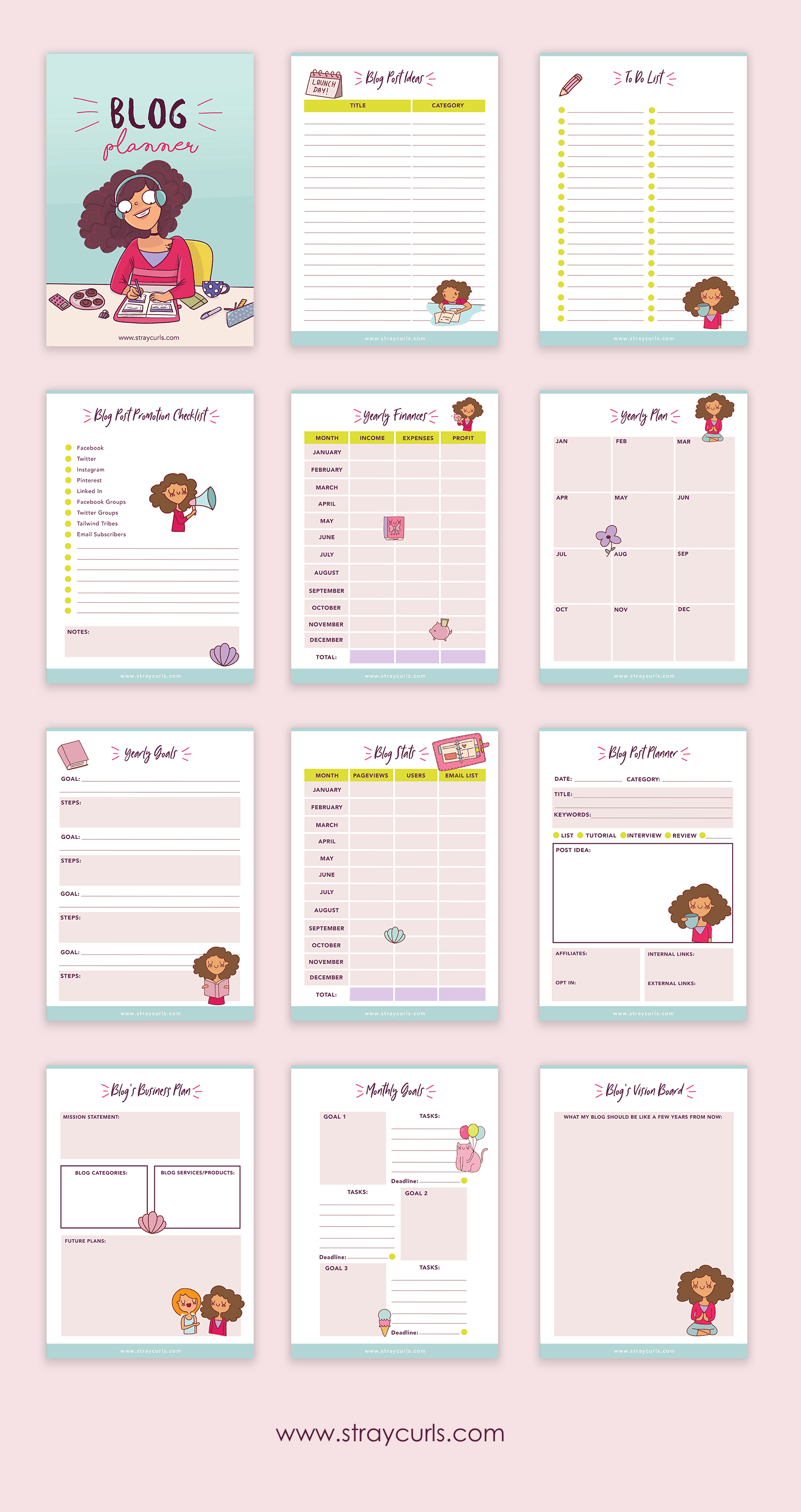 This cute printable blog planner contains 12 pages that you can download for free.