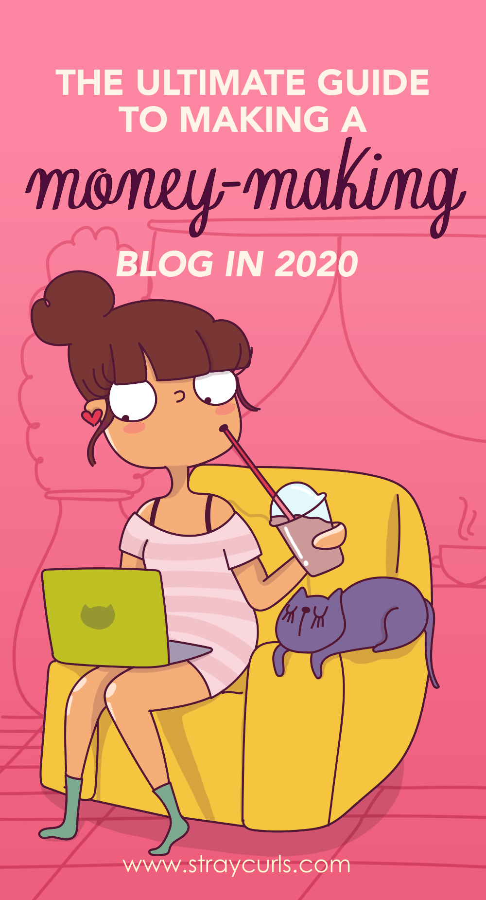 How to start a money-making Blog in 2019 | This step-by-step tutorial on starting your blog is what you need. Do you want to start a blog? | Start a WordPress blog | start a website | start a blog with Bluehost | Beginner guide to starting a blog | If you're not sure how to start a blog or choose a good web host, this step-by-step tutorial will help you make a blog. Girl Blog illustration. Girl blogging illustration. Girl laptop illustration.