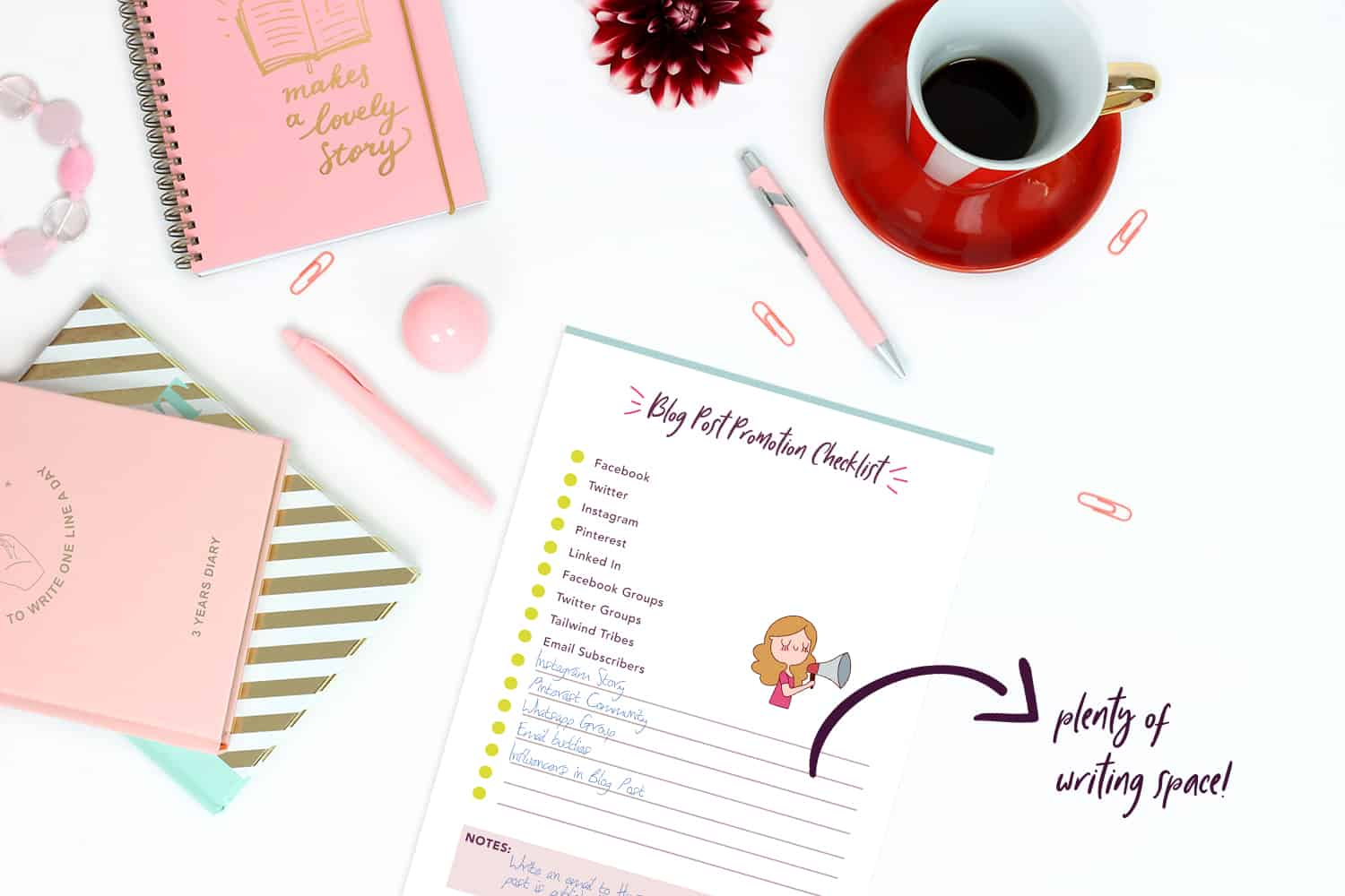 The key to having a good blog content strategy is to decide what newsletters you will send in advance. This Blog Planner will really help you set your Blog in order!