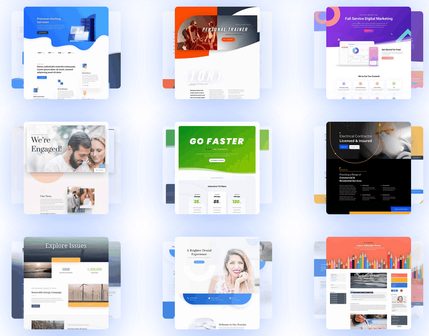 Choosing a free WordPress theme is one of the biggest SEO mistakes to avoid! Divi comes with over 800+ premade website layouts! You don't need to struggle with complicated website designs anymore! Just pick what suits your fancy.