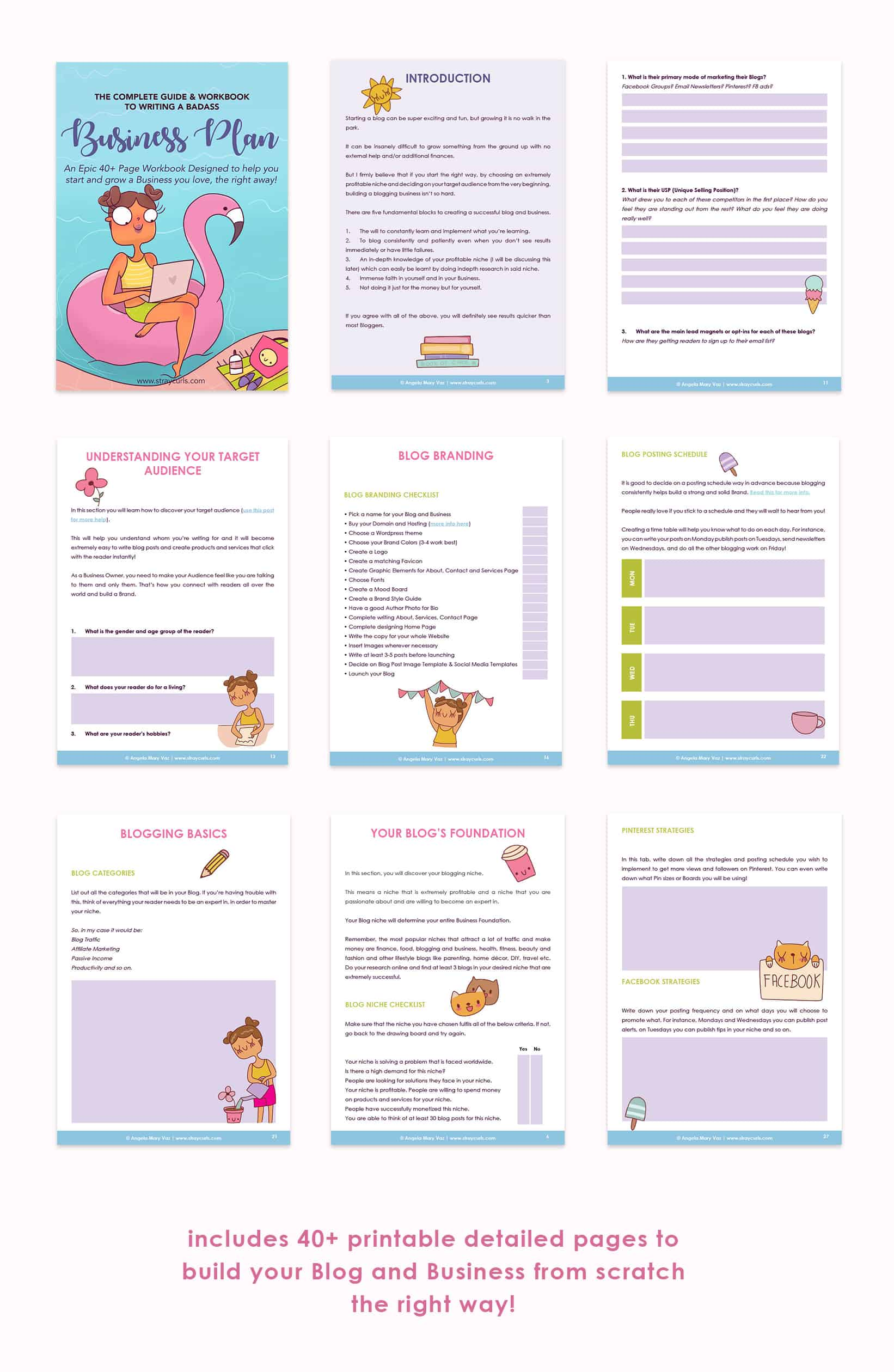 These include pages with cute stickers to help you with your blog brand, plan your social media and email marketing, monetization strategies and so much more!