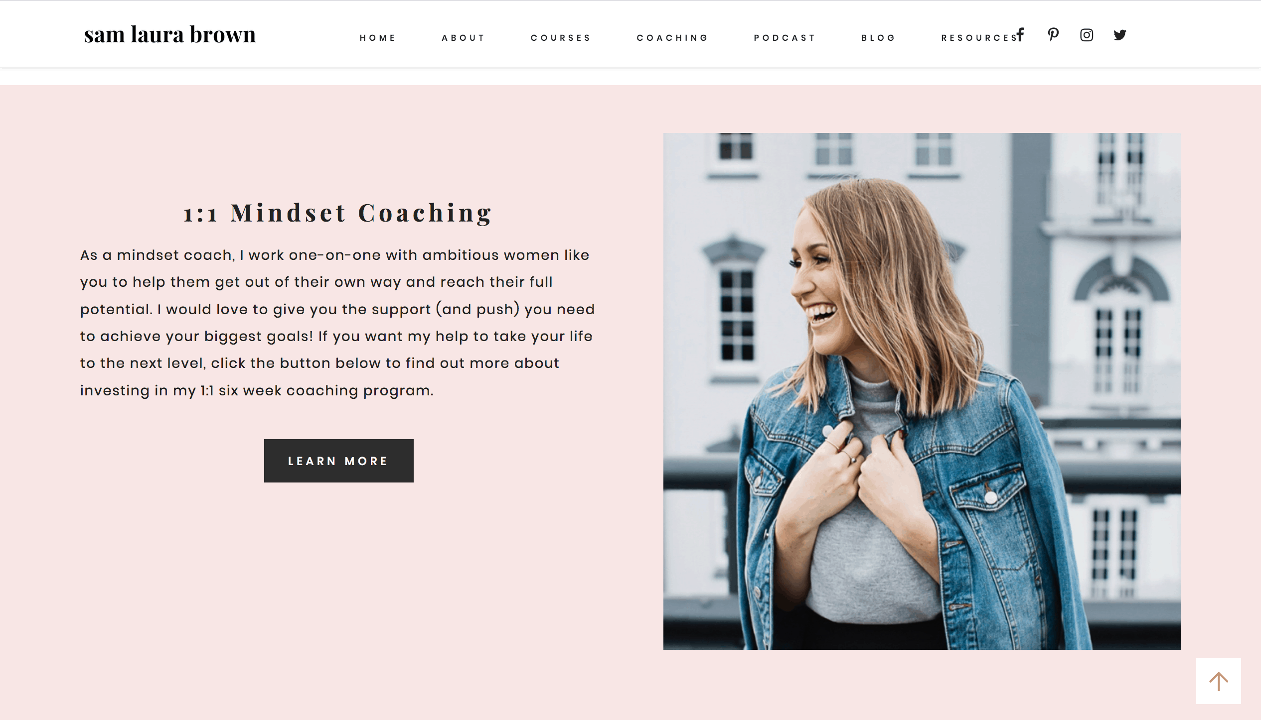 Sam Brown owns a personal growth blog and she earns an income by offering private coaching and selling online courses.