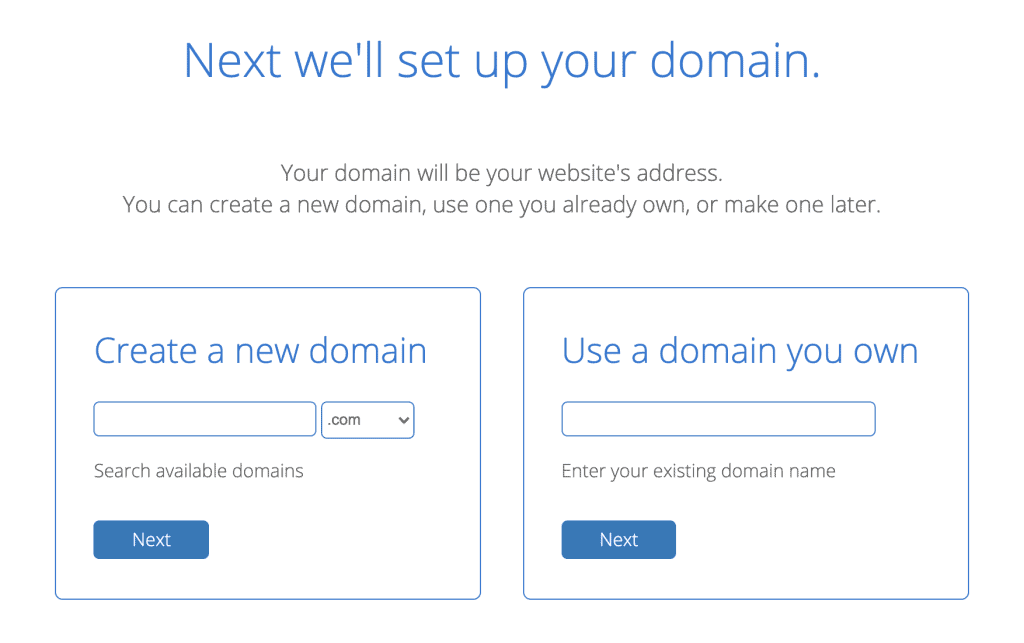 Choose a domain name on Bluehost to move tot he next step.
