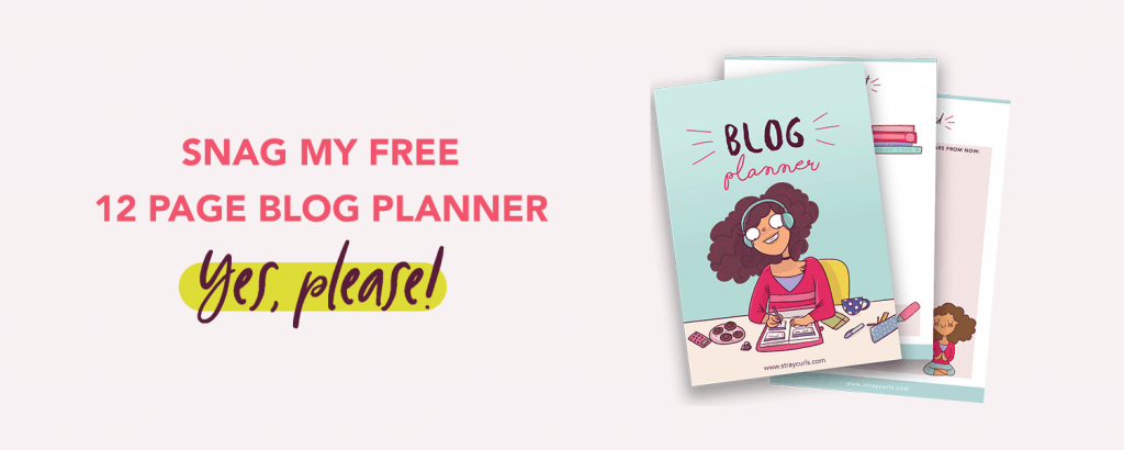 Get my 12 page blog planner for 2020 for free! This printable fun blog planner comes with stickers and lots ofwriting space to help you grow your blog!