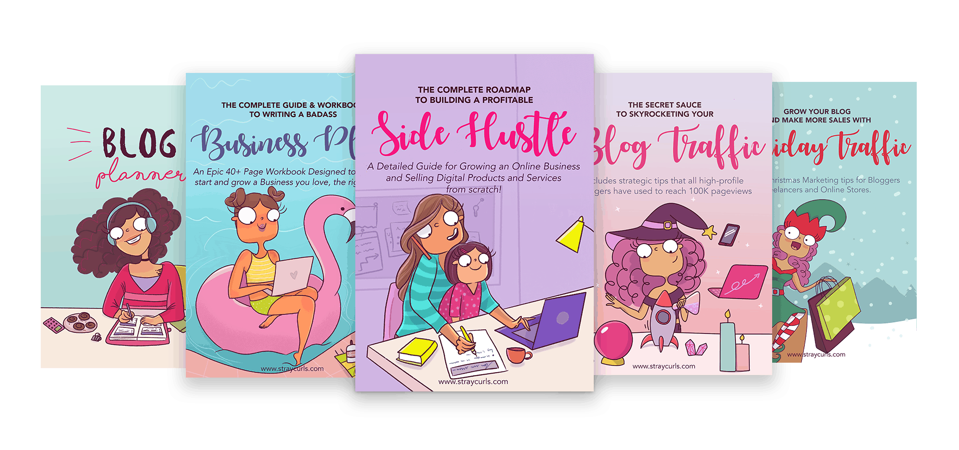 The Business Bundle includes the Blog Planner, the Business Planner, the Side Hustle eBook, the Blog Traffic eBook and the Holiday Traffic eBook!