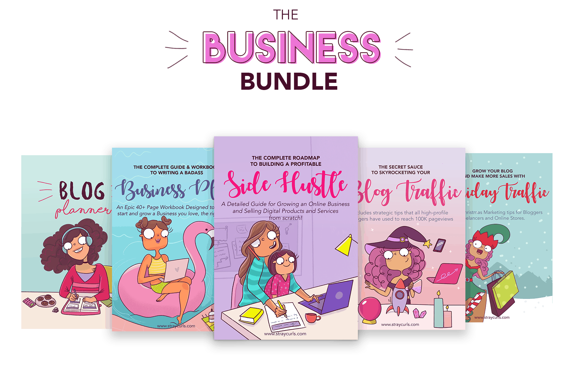 Get the entire Business Bundle which includes the Blog Planner, the Business Planner, the Side Hustle eBook, the Blog Traffic eBook and the Holiday Traffic eBook.