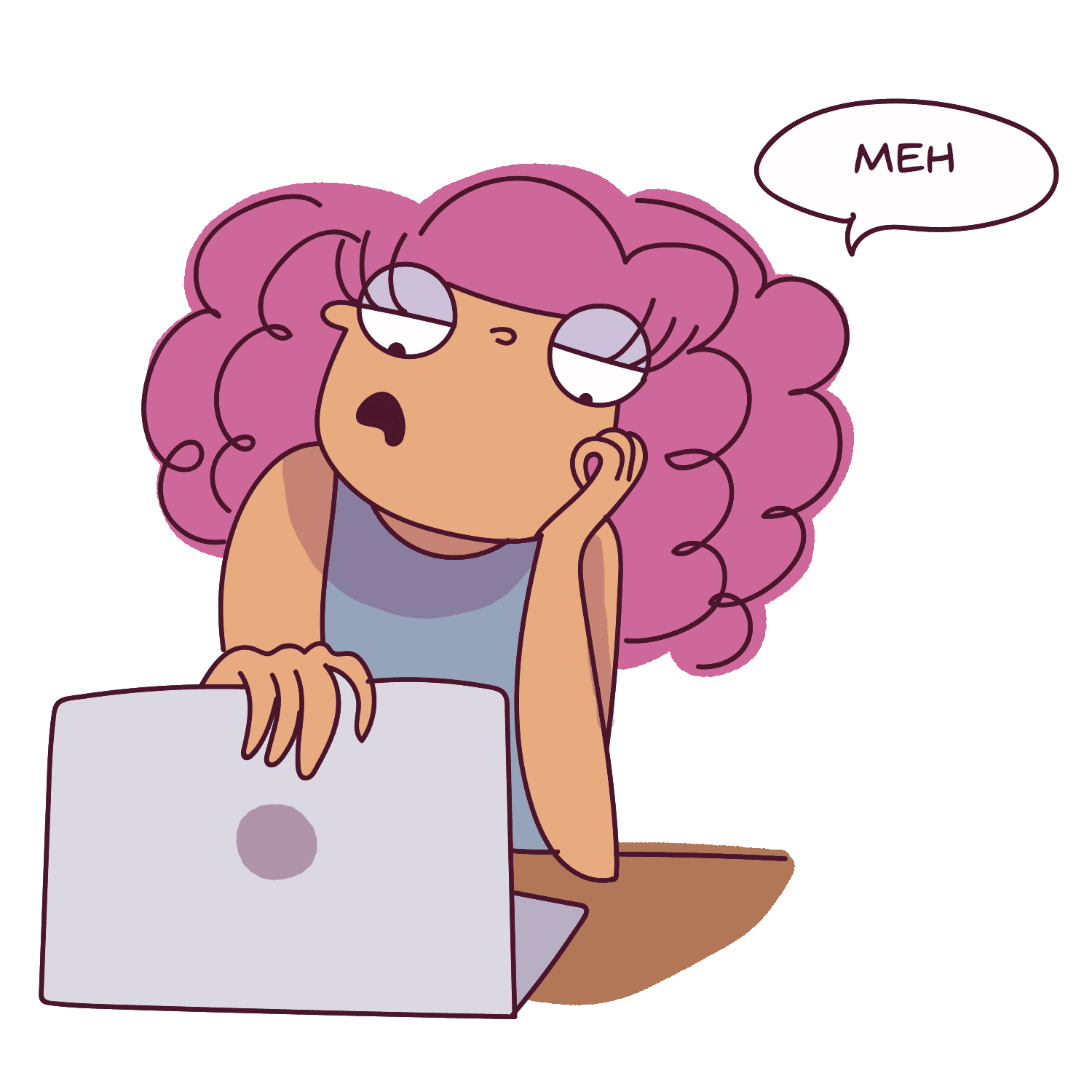 Take regular breaks to recharge yourself, otherwise you could get exhausted pretty quickly. Bored girl with laptop.