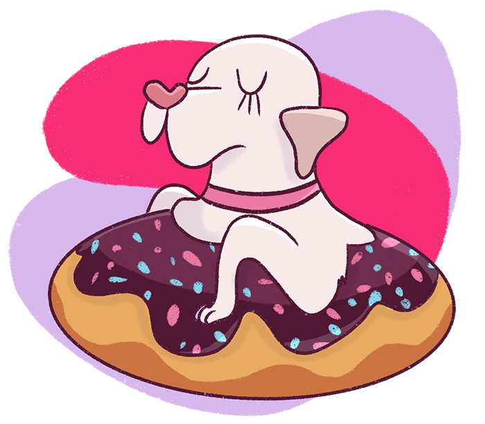 This free 5 day email course will help you learn how to grow your traffic and make money blogging. This course includes SEO strategies that will help you double your blog traffic. Dog as a doughnut illustration.