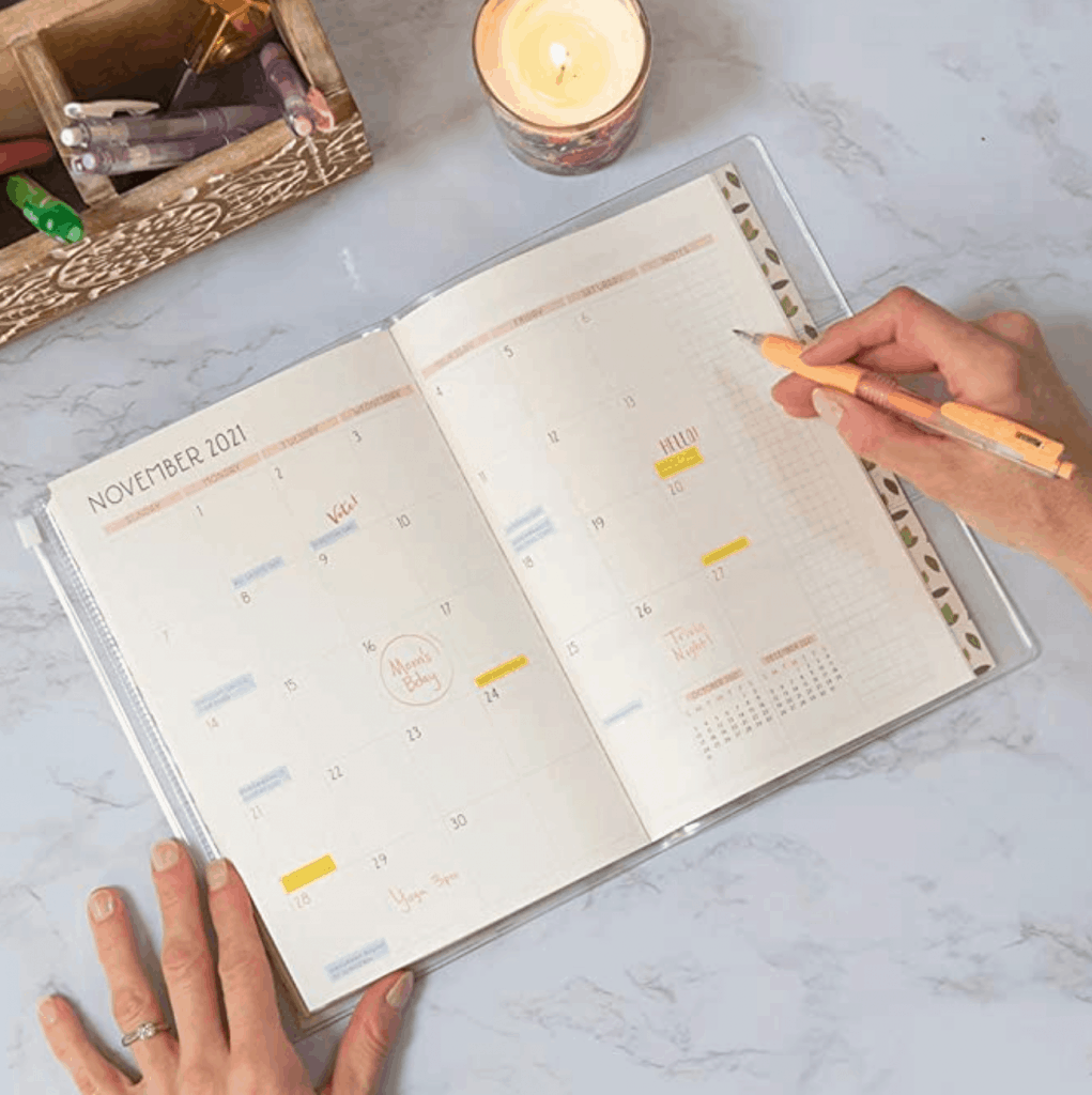 It has a nice monthly spread and also comes with space to include all your appointments.