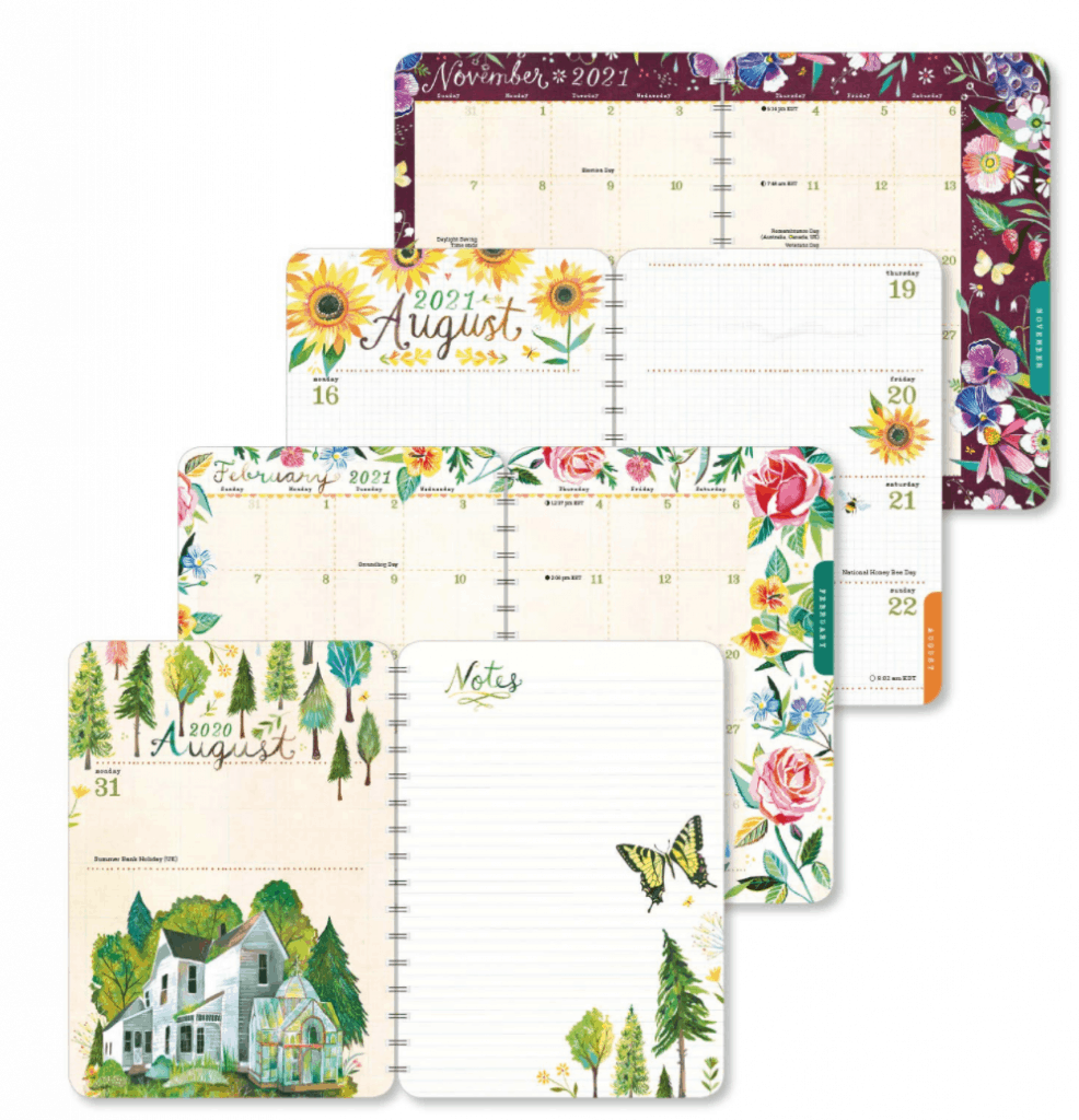 Katie Daisy Planners are filled with artwork on almost every page.