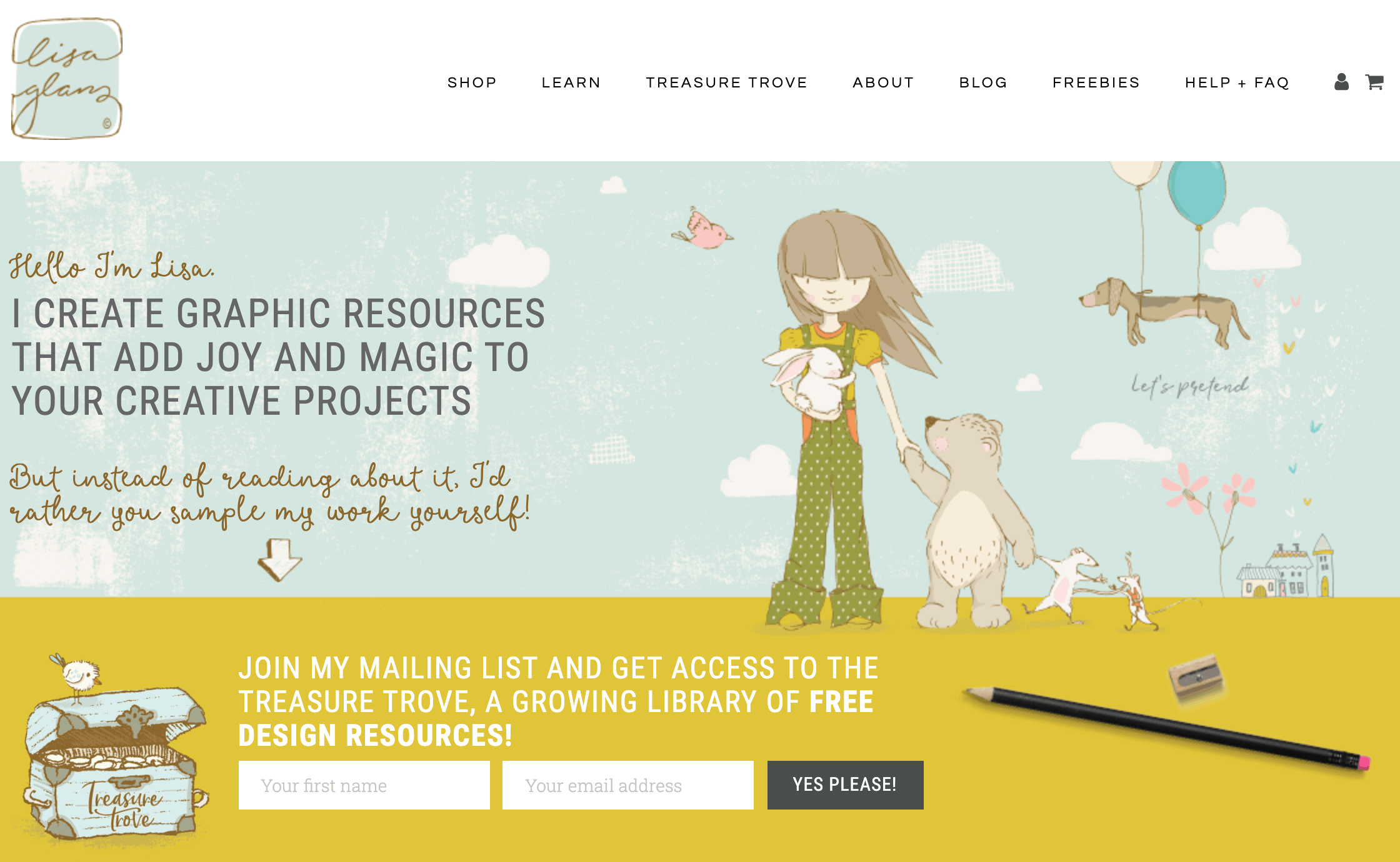 Lisa Glanz uses her website to raise awareness on her Skillshare classes and get illustration sales.