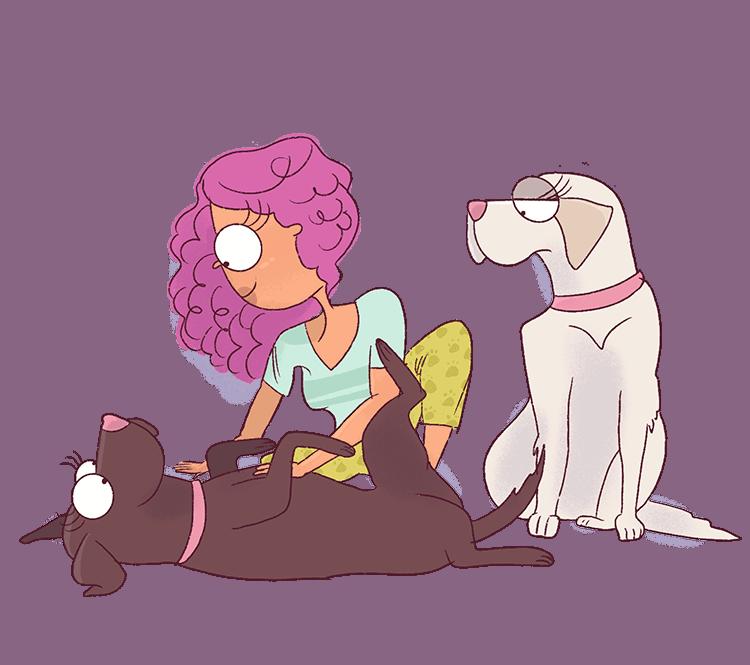 Stray Curls Angela has two adorable labrador girls.