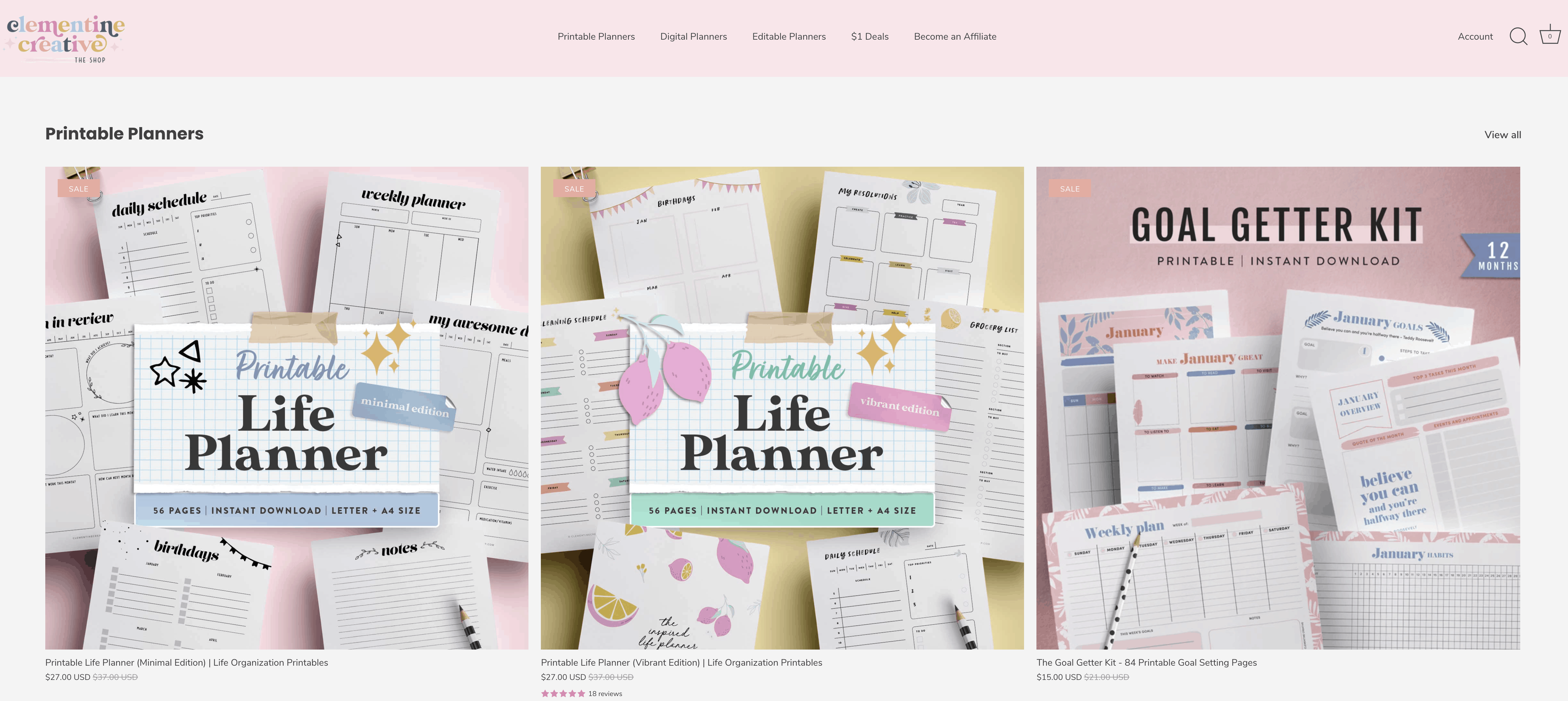 Carmia sells printable planners and digital goods on her own website which she uses as a shop.