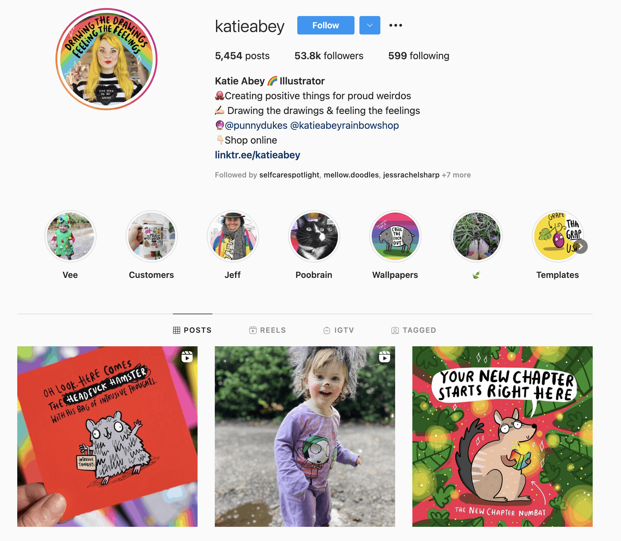 Katie Abey has a beautiful instagram page where she showcases her colorful artwork!
